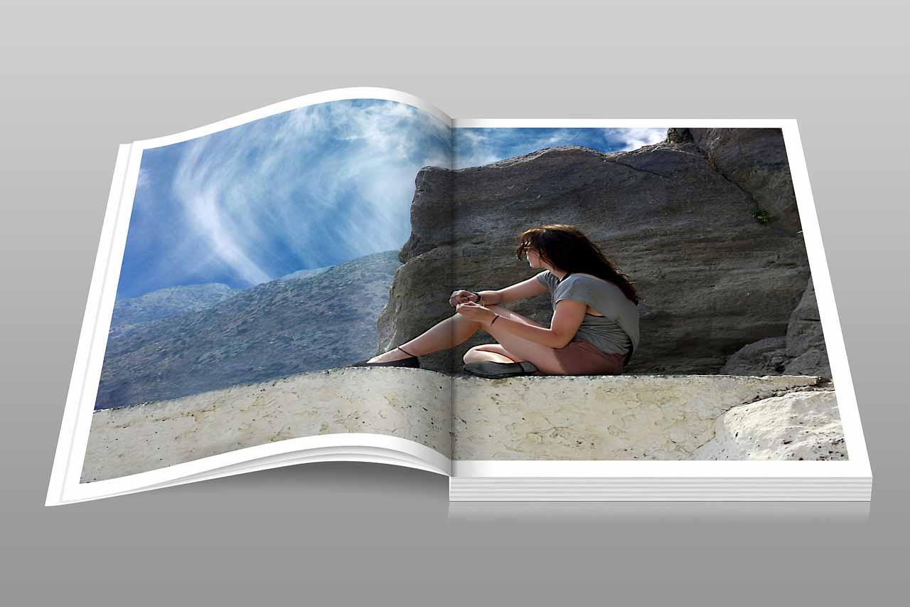 Beispielexemplar für ein farbiges Softcover-Buch